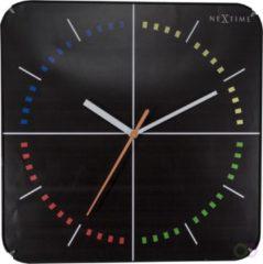 Zwarte NeXtime 4 Seasons Dome - klok - Vierkant - Glas en kuststof - Stil Uurwerk - 35x35 cm - Multi color