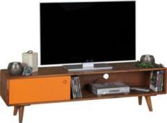 Wohnling TV Lowboard REPA Sheesham Massivholz mit 1 Tür 140 x 40 x 35 cm TV Hifi Regal im Retro-Design Fernsehschrank TV-Board in dunkelbraun / oran