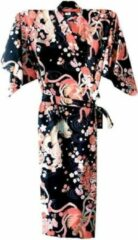Roze TA-HWA Traditionele Japanse Kimono Yukata Zwart met Draak en Phoenix Dames Nachtmode kimono One Size