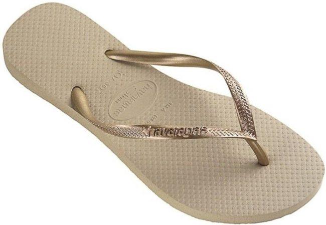 Afbeelding van Grijze Havaianas Slim Dames Slippers - Grey/Light Golden - Maat 41/42 Brasil, Maat 43/44 Europa