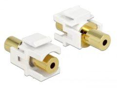 Gouden DeLOCK 2x3.5 mm 3.5mm 3.5mm Goud, Wit kabeladapter/verloopstukje