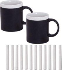 123 Kado koffiemokken 2x Krijt Koffie/Thee Mokken wit met pakje krijt