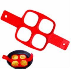 Rode ProductGoods - Siliconen Bakvorm Ei Pannenkoek – Bakvorm Flipper - Maak de perfecte pannenkoeken gebakken eieren en omeletjes - Bakvorm ei – Bak eenvoudig 4 Gelijke Gerechten – Model Vierkant