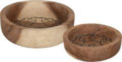 Bruine Must Living Houten Bowls Mandala (set van twee)