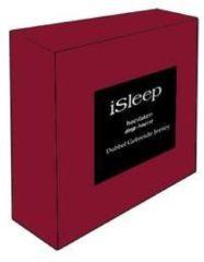 Bordeauxrode ISleep Dubbel Jersey Hoeslaken - Litsjumeaux - 160/180x200 cm - Bordeaux