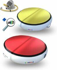 Rode AirSpot - AirTrack Pro 100cm dia 20cm hoog | Turnmat gymnastiek - Carbon air spot rond | YouAreAir ronde spring mat met voetpomp