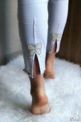 Merkloos / Sans marque Broek met hoge taille en vlindertje aan de enkels wit