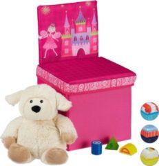 Roze Relaxdays opbergbox - opvouwbaar - kinderen - speelgoedkist - poef - hocker - opbergruimte Prinses