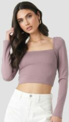 NA-KD Trend Puff Shoulder Bodycon Top - Purple