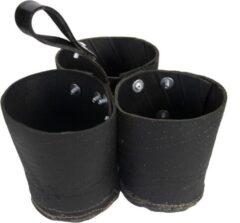 Zwarte Esschert's Garden Esschert Garden, gerecycled rubber triple pot