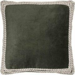 Donkergroene Home67 Kussen Jill - Army groen - 45 x 45 cm - Velvet - Fluweel