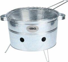 Zilveren Bbq Draagbare Barbecue Rond Zwart Staal 38 X 20 Cm