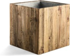 Bruine Potwinkel Plantenbak wood 43,5 x 43,5 x 43,5 cm