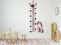 Bordeauxrode Rosami Decoratiestickers Muursticker groeimeter eenhoorn bordeaux rood | Rosami