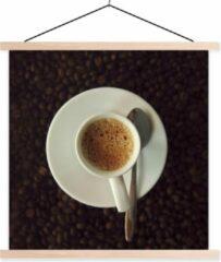 TextilePosters Kopje espresso op koffiebonen schoolplaat platte latten blank 90x90 cm - Foto print op textielposter (wanddecoratie woonkamer/slaapkamer)