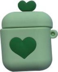 Hidzo Hoes voor Apple's Airpods 1/2 - Hartje - Groen - Siliconen