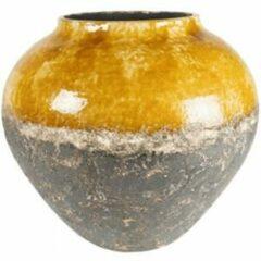 Ter Steege Jar Lindy Ochre Okergele ronde lage vaas voor binnen 45 cm