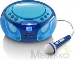 Lenco SCD-650BU Draagbare FM Radio CD/MP3/USB microfoon en licht effecten - Blauw