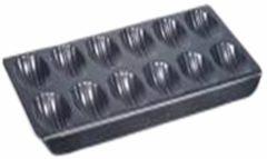 Zwarte Point-Virgule Bakvorm - Madeleines - 12 Stuks - Anti-aanbaklaag - 40x21x2cm