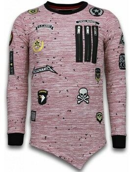 Afbeelding van Local Fanatic Longfit Asymmetric Embroidery - Sweater Patches - US Army - Roze - Maten: XL