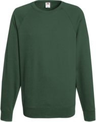 Groene Fruit of the Loom Sweater Raglan Sweat Ronde Hals Groen maat S