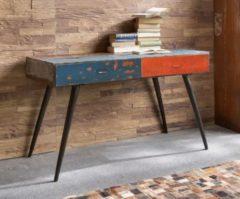 SIT Möbel Schreibtisch Desgin aus recycelten Ölfässern Metall in gelb/blau/rot bemalt Sit-Möbel Drumline