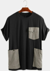 Newchic Mens Loose Casual Short Sleeve T-Shirt Decorated With Large Pockets