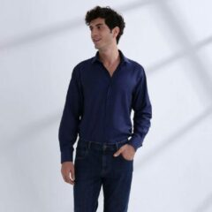 Heren Overhemd Donkerblauw MT 45 - Baurotti Lange Mouw Regular fit