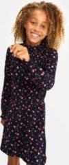 Marineblauwe WE Fashion Meisjes jurk met bloemendessin en smokwerk