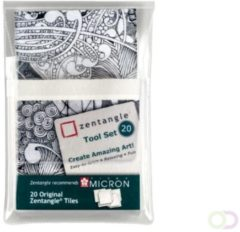 Sakura Zentangle tiles 20delig wit
