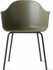 Groene Menu Harbour Chair Stoel Olive Met Onderstel Zwart Staal