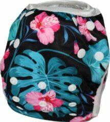 Roze Blije Billetjes NIEUW! Wasbare Zwemluier Klein Zwart Met Bloemen