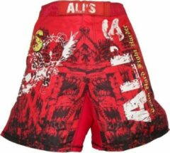 Merkloos / Sans marque Ali's fightgear kickboks broekje - mma short - 2 rood - XXL