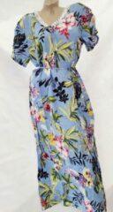 Merkloos / Sans marque Dames katoenen jurk korte mouw met bloemenprint XL 40-42 lichtblauw