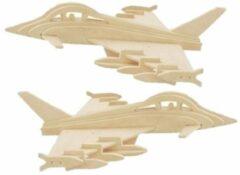 Beige 2x stuks bouwpakket hout Eurofighter straaljagers vliegtuig - Luchtmacht speelgoed