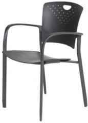 Rode Schaffenburg serie 031 kantine-/conferentiestoel. Zitting zwart polypropyleen, rug zwart stof, met armleuning, Stapelbaar. 1 jaar garantie.