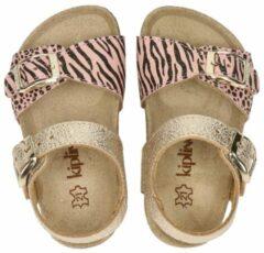 Kipling Rikulu 1 leren sandalen met zebraprint roze/goud