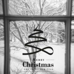 Zwarte Namenenzo Sticker Raamsticker kerst A4 - Merry christmas & Happy new Year 3 | Kerst stickers | kerststickers raam | Gratis Verzending!
