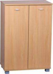 Wohnling Design Schuhschrank TAJA modern Holz Buche 12 Paar Schuhe 4 Fächer 2 Türen Schuhregal 60 x 90 x 35 cm platzsparend Schuhkommode Flurschrank