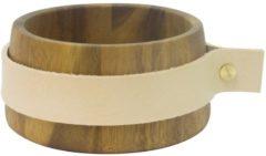 Bruine TAK Design Puka Wrap Me Serveerkom - Incl. Leer - Acacia Hout - Ø12 x 6 cm