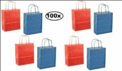 Thema party 100x Papieren koordtas rood en blauw 18x8x22cm