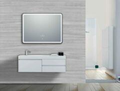 Vips Badkamerspiegel 80x60cm met Led verlichting, Anti-condens functie en Zwart aluminium profiel