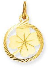 Goudkleurige Glow bedel - geelgoud - klaver - glanzend - rond - gediamanteerde rand - 12mm