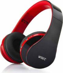 WISEQ Draadloze Kinder Koptelefoon - Bluetooth Koptelefoon voor Kinderen - on ear - 8 uur muziek | zwart/rood