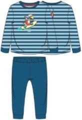 Woody pyjama baby - blauw-rood gestreept - zeemeeuw - 211-3-PLC-S/983 - maat 74