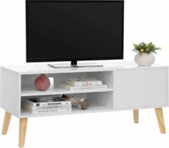 Acaza Laag TV-meubel in Scandinavische Stijl - TV Kast voor Televisie, Gameconsole, Radio - Wit