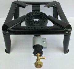 Zwarte Konder Wokbrander 30 X 30 cm / Gasbrander / Camping kooktoestel compleet met slang en drukregelaar