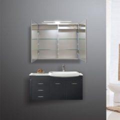 Grijze Diamond Line Spiegelkast Pandora 80x60x14cm Aluminium LED Verlichting Stopcontact Binnen en Buiten Spiegel Glazen Planken