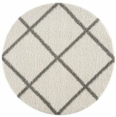 Creme witte Impression Shaggy Madrid Rond Design Vloerkleed Creme Hoogpolig - 200 CM ROND
