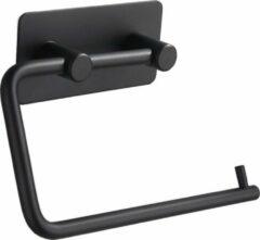 VDN Stainless Toiletrolhouder Zwart - WC Rolhouder - Zonder boren - Zelfklevend - Toiletpapier houder - RVS